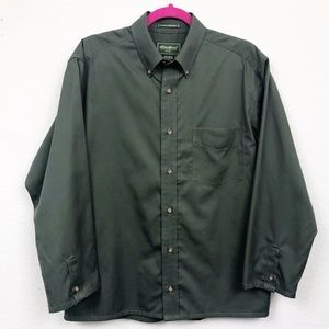 Eddie Bower Olive Button Down Wrinkle Resistant